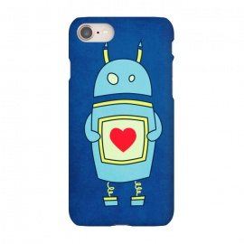 iPhone 8/7 SlimFit Clumsy Cute Robot With Heart by Boriana Giormova (robt,cute,illustration,cartoon,funny,sci fi,science fiction,character,geek,nerd,geeky,nerdy,carton robot,cute robot,robot love,love robot,robot heart)