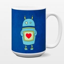 15 oz Standard Mug Clumsy Cute Robot With Heart by Boriana Giormova (robt,cute,illustration,cartoon,funny,sci fi,science fiction,character,geek,nerd,geeky,nerdy,carton robot,cute robot,robot love,love robot,robot heart)