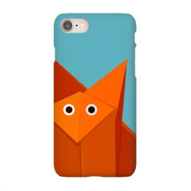 iPhone 8/7 SlimFit Cute Origami Fox by Boriana Giormova (fox,animal,origami,paper creaft,geometric,cartoon,cute,cute fox,cartoon fox,foxy,illustration,cute animal,cute origami,orange fox)