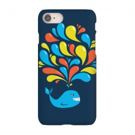 iPhone 8/7 SlimFit Cute Colorful Splash Cartoon Blue Whale by Boriana Giormova (whale,cute,cartoon,happy,briht,adorable,sweet,fun,colorful,illustration,aquatic,marine,ocean,cheerful,animal,smile,smiling,splash,splashing,cartoon whale,cute whale ,happy whale,colorful whale)