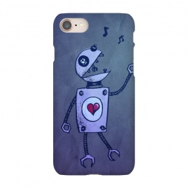 iPhone 8/7 SlimFit Blue Happy Cartoon Singing Robot by Boriana Giormova (robot,cartoon robot,technology,robotic,cute robot,gekk,nerd,robots,sci-fi,science fiction,grunge robot,retro robot,retro,music,cute,music robot,musical,heart,sing,singing,funny,funny robot,tech,cheerful,geeky,nerdy)