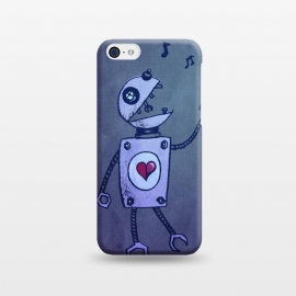 iPhone 5C  Blue Happy Cartoon Singing Robot by Boriana Giormova