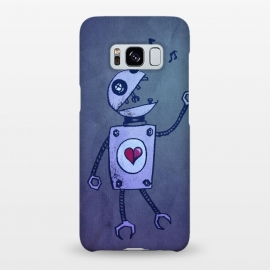 Galaxy S8+  Blue Happy Cartoon Singing Robot by Boriana Giormova