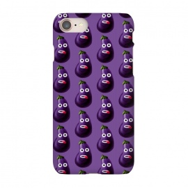 iPhone 8/7 SlimFit Purple Funny Cartoon Eggplant Pattern by Boriana Giormova (pattern,eggplant pattern,aubergine,funny eggplant,food,vegetable,vegetables,vegan,vegetarian,healthy,eggplant,cuisine,cooking,violet,purple,veggies)