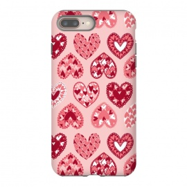 iPhone 7 plus  Pink Papercut Hearts by Kimrhi Studios (Pink,Papercut,Hearts,Love)