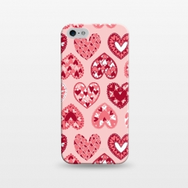 iPhone 5/5E/5s  Pink Papercut Hearts by Kimrhi Studios (Pink,Papercut,Hearts,Love)