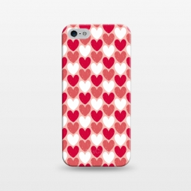 iPhone 5/5E/5s  Red Hearts by Kimrhi Studios (hearts,heart,texture,red)