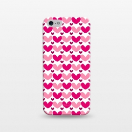 iPhone 5/5E/5s  Pink Brushed Hearts by Kimrhi Studios (love,hearts,pattern,pink)