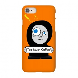 iPhone 8/7 SlimFit Funny Cartoon Character Too Much Coffee by Boriana Giormova (coffee,funny coffee,coffee character,coffee addict,coffee lover,character,cartoon,cartoon character,funny character)