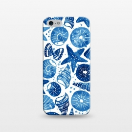 iPhone 5/5E/5s  sea shells by Laura Grant (sea shell,shell,beach,summer,blue)