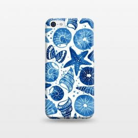 iPhone 5C  sea shells by Laura Grant (sea shell,shell,beach,summer,blue)
