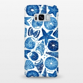 Galaxy S8+  sea shells by Laura Grant (sea shell,shell,beach,summer,blue)