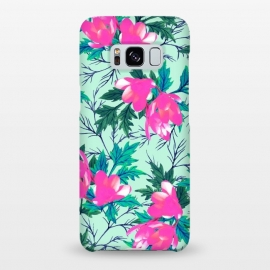 Galaxy S8+  Summer Garden by Uma Prabhakar Gokhale (watercolor, pattern, floral, pink, bold, bright, colorful, nature, botanical, blossom, bloom, leaves, green, blue, exotic)