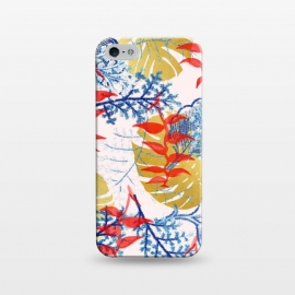 iPhone 5/5E/5s  Budding Romance by Uma Prabhakar Gokhale (graphic, pattern, watercolor, red, tropical, banana leaves, navy blue, royal blue, blue, contrast, exotic, nature, floral, botanical, blossom, bloom, gold, golden, monstera)