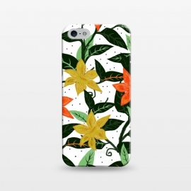 iPhone 5/5E/5s  Tropical Rainforest by Uma Prabhakar Gokhale (graphic, pattern, watercolor, floral, flowers, nature, bloom, blossom, orange, yellow, green, mint, mint green, leaves, tropical, exotic)
