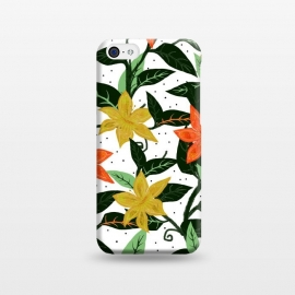 iPhone 5C  Tropical Rainforest by Uma Prabhakar Gokhale (graphic, pattern, watercolor, floral, flowers, nature, bloom, blossom, orange, yellow, green, mint, mint green, leaves, tropical, exotic)