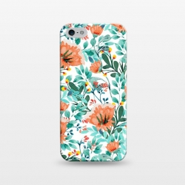 iPhone 5/5E/5s  Tangerine Dreams by Uma Prabhakar Gokhale (watercolor, pattern, orange, tangerine, coral, floral, nature, botanical, blossom, bloom, green, blue, exotic, flowers, tropical)