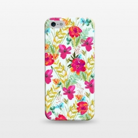 iPhone 5/5E/5s  Bonheur by Uma Prabhakar Gokhale (graphic design, acrylic, pattern, floral, colorful, exotic, tropical, pink, red, leaves, blossom, bloom, flowers, nature)