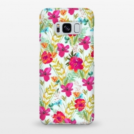 Galaxy S8+  Bonheur by Uma Prabhakar Gokhale (graphic design, acrylic, pattern, floral, colorful, exotic, tropical, pink, red, leaves, blossom, bloom, flowers, nature)