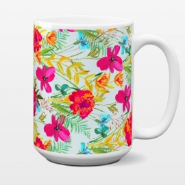 15 oz Standard Mug Bonheur by Uma Prabhakar Gokhale (graphic design, acrylic, pattern, floral, colorful, exotic, tropical, pink, red, leaves, blossom, bloom, flowers, nature)