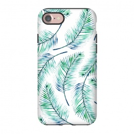 iPhone 8/7  Palms by Uma Prabhakar Gokhale (watercolor, pattern, palms, plam, palm leaf, palm leaves, tropical, blue, green, exotic, nature, blue green)