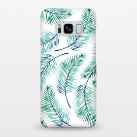 Galaxy S8+  Palms by Uma Prabhakar Gokhale (watercolor, pattern, palms, plam, palm leaf, palm leaves, tropical, blue, green, exotic, nature, blue green)