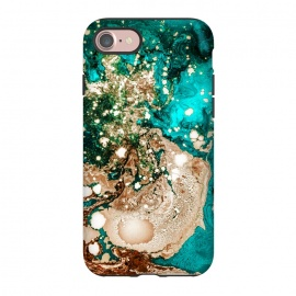 iPhone 8/7  Resin Obsession by Uma Prabhakar Gokhale (resin art, blue, teal, exotic, bronze, metallic, gold, copper, rose gold, flow, paint filter, paint effect, digital manipulation)