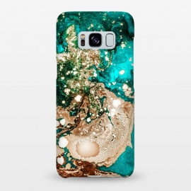 Galaxy S8+  Resin Obsession by Uma Prabhakar Gokhale (resin art, blue, teal, exotic, bronze, metallic, gold, copper, rose gold, flow, paint filter, paint effect, digital manipulation)