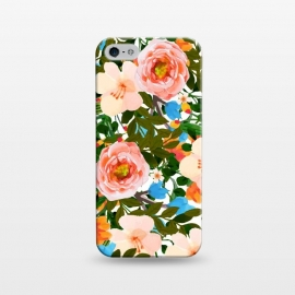 iPhone 5/5E/5s  Rose Garden by Uma Prabhakar Gokhale (watercolor, pattern, rose, tropical, exotic, colorful, floral nature blossom bloom, nature blush, pink blue green, vibrant color pop)