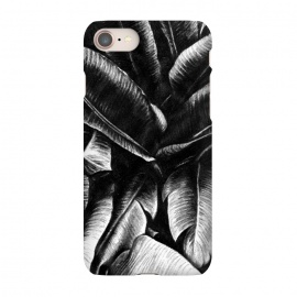 iPhone 8/7 SlimFit Dark Leaves by Caitlin Workman (Tropical, Palms, Palm Trees,Travel,Ocean,Nature,Leaves,Drawing)