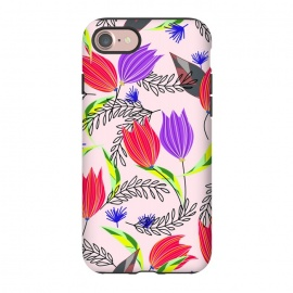 iPhone 8/7  Floral Paradise by allgirls (floral,flower,pattern,nature,tulips,pink,flowers,bloom,blossom,garden,paradise,graphic,vectors,design,spring,colorful,botanic,botanical,leaves,leaf,elegant,beautiful,pretty,cool gifts)
