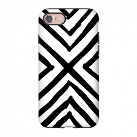iPhone 8/7  Angled Stripes by Caitlin Workman (Minimal, Modern,Black & White,Boho,Painting,Edgy, bold, organic)
