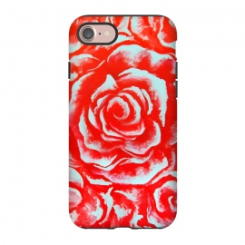iPhone 8/7  Rosettes by Caitlin Workman (Flowers, Roses, Love, Red, Fashion, Style, Feminine, Girly,plants, teal, acrylic )