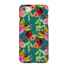 iPhone 7 SlimFit Chaman Garden (Green) by Zala Farah (floral,flowers,floral art,floral collage,flower pattern,floral print,nature,botanical,pink roses,red roses,branches,leaves,art,print,collage,botanic collage,plants,colors,colorful,cute)