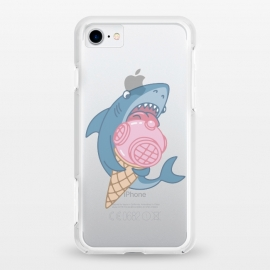 iPhone 8/7 StrongFit clear SHARK AND ICE CREAM by Alexander Medvedev (shark,ice crem,diver,sea)