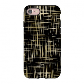 iPhone 8/7  Crosshatch Black by Caitlin Workman (Gold,Metallic, crosshatch, black, pattern,style, fashion)