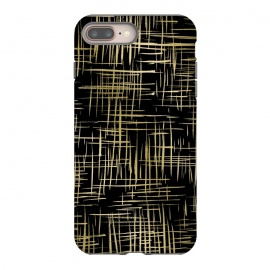 Crosshatch Black by Caitlin Workman (Gold,Metallic, crosshatch, black, pattern,style, fashion)