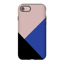 iPhone 8/7  Color Block  by Caitlin Workman (Color block, Pink, Nude, Black, Blue, Fashion, Style, color, pattern, minimal, modern, bold)