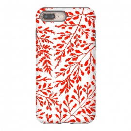 Foliage Red by Caitlin Workman (red, foliage, forest, leaves,ferns, girly, feminine, pattern)