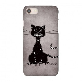 iPhone 8/7 SlimFit Ragged Evil Black Cat by Boriana Giormova (cat,cats,black cat,evil cat,black kitty,evil kitty,kitty,cat lover,feline,halloween,animal,dark,gothic,goth)