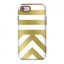 iPhone 8/7  Gold Chevron Stripes by Caitlin Workman (metallic, gold, stripes, pattern, fashion, style, miniimal,modern, bold, clean, chic, luxury)