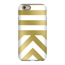 iPhone 6/6s  Gold Chevron Stripes by Caitlin Workman