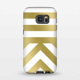 Galaxy S7  Gold Chevron Stripes by Caitlin Workman