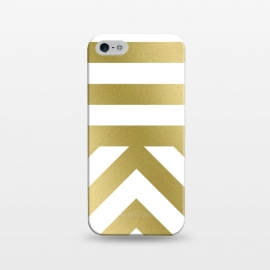 iPhone 5/5E/5s  Gold Chevron Stripes by Caitlin Workman