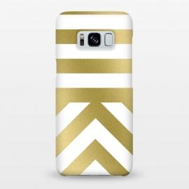 Galaxy S8+  Gold Chevron Stripes by Caitlin Workman
