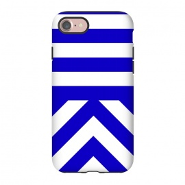 iPhone 8/7  Blue Stripes by Caitlin Workman (Bold, blue, chevron, pattern, clean, minimal, modern, bright, color, fashion, chic, style,stripes)