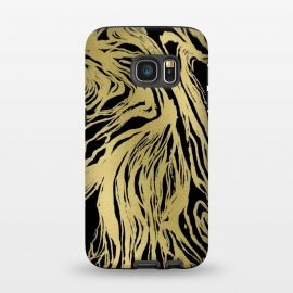 Galaxy S7  Black and Gold Marble by Caitlin Workman
