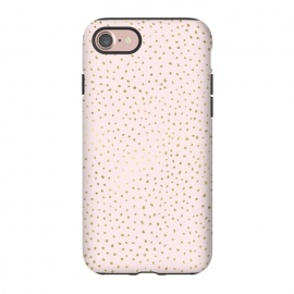 iPhone 8/7  Dotted Pink and Gold by Caitlin Workman (Fashion, polka dot, dot, feminine, pink,girly, chic,bold, contrast)