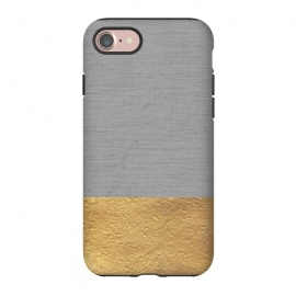 iPhone 8/7  Color Blocked Gold and Grey by Caitlin Workman (color block, texture, gray, gold, metallic, modern, minimal, chic, luxury, bold)