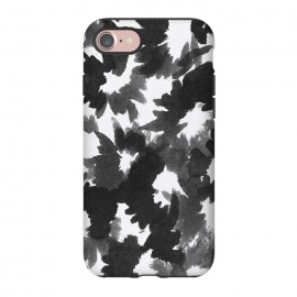 iPhone 8/7  Black Floral by Caitlin Workman (Floral, Flowers, black, painting, pattern, brush, ink, fashion, style)
